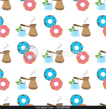 Seamless pattern with illustrationson a coffee theme. Turkish coffee pot, cup of coffee and donuts. stock vector clipart, Seamless pattern with illustrations on a coffee theme. Turkish coffee pot, cup of coffee and donuts. by Filipp Efanov
