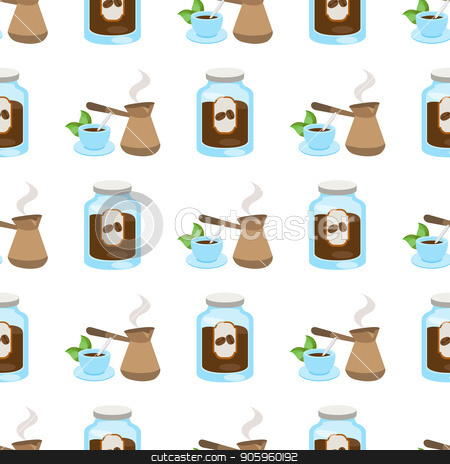 Seamless pattern with illustrations on a coffee theme. Turkish coffee pot, cup of coffee and jar of coffee stock vector clipart, Seamless pattern with illustrations on a coffee theme. Turkish coffee pot, cup of coffee and jar of coffee. by Filipp Efanov