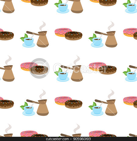 Seamless pattern with illustrations on a coffee theme. Turkish coffee pot, cup of coffee and donuts stock vector clipart, Seamless pattern with illustrations on a coffee theme. Turkish coffee pot, cup of coffee and donuts. by Filipp Efanov