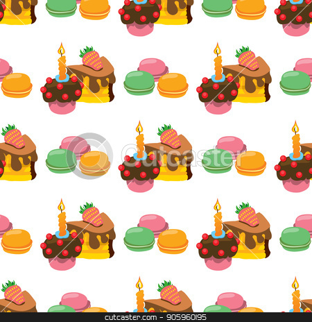 Seamless pattern with illustrations on the theme of coffee. Macaroon and cakes stock vector clipart, Seamless pattern with illustrations on the theme of coffee. Macaroon and cakes. by Filipp Efanov