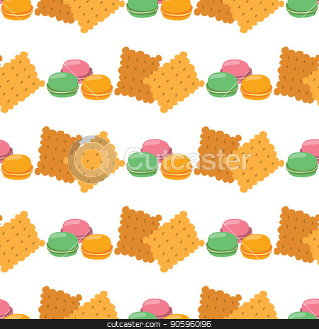 Seamless pattern with illustrations on the theme of coffee. Macaroon and crackers stock vector clipart, Seamless pattern with illustrations on the theme of coffee. Macaroon and crackers. by Filipp Efanov