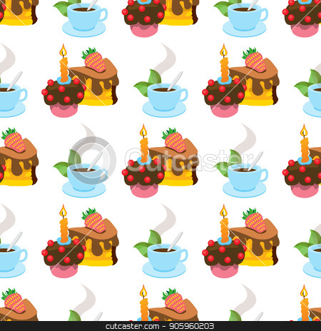 Seamless pattern with illustrations on the theme of coffee. A cup of hot coffee or tea and cakes stock vector clipart, Seamless pattern with illustrations on the theme of coffee. A cup of hot coffee or tea and cakes. by Filipp Efanov