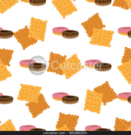 Seamless pattern with crackers and donuts. stock vector clipart, Seamless pattern with crackers and donuts on white background. by Filipp Efanov