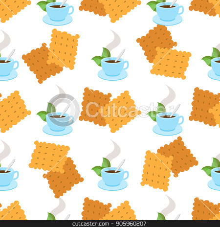 Seamless pattern with illustrations on the theme of coffee. A cup of hot coffee or tea and crackers stock vector clipart, Seamless pattern with illustrations on the theme of coffee. A cup of hot coffee or tea and crackers. by Filipp Efanov