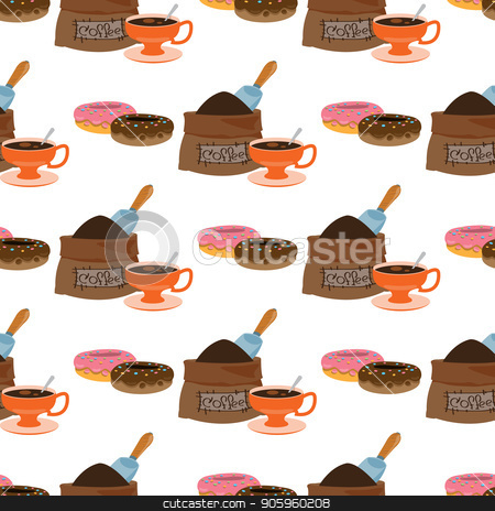 Seamless pattern with illustrations on the theme of coffee. Donuts and a bag of coffee beans stock vector clipart, Seamless pattern with illustrations on the theme of coffee. Donuts and a bag of coffee beans. by Filipp Efanov