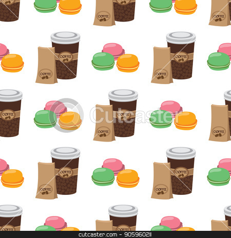 Seamless pattern with illustrations on the theme of coffee. Macaroon and coffee in the cup stock vector clipart, Seamless pattern with illustrations on the theme of coffee. Macaroon and coffee in the cup. by Filipp Efanov