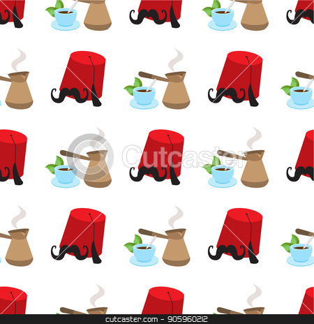 Seamless pattern with illustrations on a coffee theme. Turkish coffee pot, cup of coffee and fez stock vector clipart, Seamless pattern with illustrations on a coffee theme. Turkish coffee pot, cup of coffee and fez. by Filipp Efanov