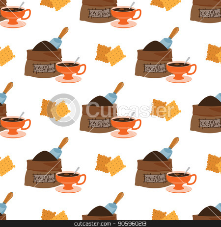 Seamless pattern with illustrations on the theme of coffee. Crackers and a bag of coffee beans stock vector clipart, Seamless pattern with illustrations on the theme of coffee. Crackers and a bag of coffee beans. by Filipp Efanov