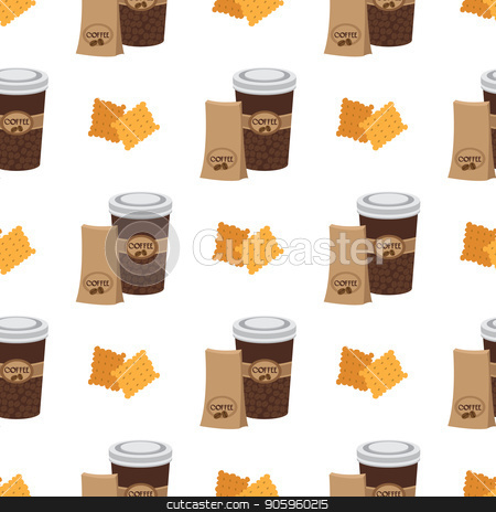 Seamless pattern with illustrations on the theme of coffee. Crackers and coffee in the cup stock vector clipart, Seamless pattern with illustrations on the theme of coffee. Crackers and coffee in the cup. by Filipp Efanov