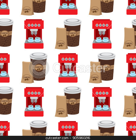 Seamless pattern with illustrations on the theme of coffee. Coffee maker and coffee in the cup stock vector clipart, Seamless pattern with illustrations on the theme of coffee. Coffee maker and coffee in the cup. by Filipp Efanov