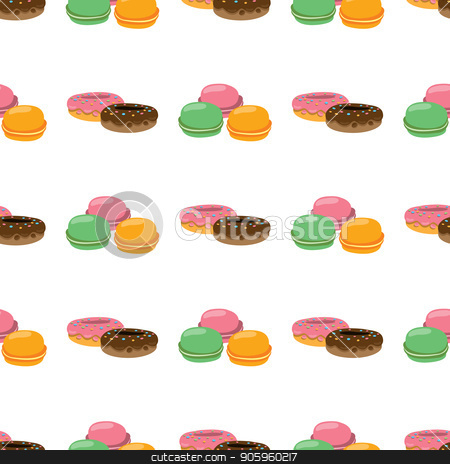 Seamless pattern with macaroon and donuts. stock vector clipart, Seamless pattern with macaroon and donuts on white background. by Filipp Efanov