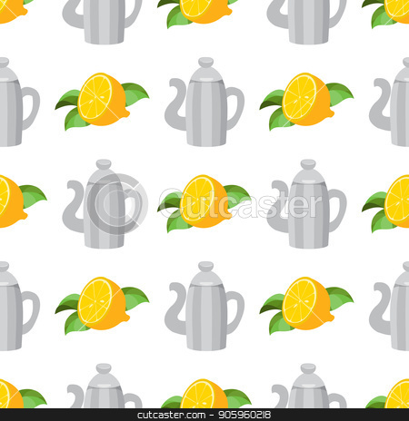 Seamless pattern with illustrations on the theme of coffee. Vintage metal coffee pot and lemon stock vector clipart, Seamless pattern with illustrations on the theme of coffee. Vintage metal coffee pot and lemon. by Filipp Efanov