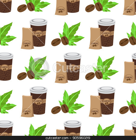 Seamless pattern with illustrations on the theme of coffee. Coffee beans and coffee in the cup stock vector clipart, Seamless pattern with illustrations on the theme of coffee. Coffee beans and coffee in the cup. by Filipp Efanov