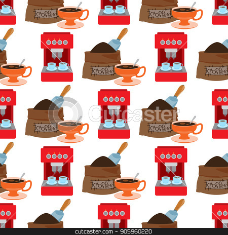 Seamless pattern with illustrations on the theme of coffee. Coffee maker and a bag of coffee beans stock vector clipart, Seamless pattern with illustrations on the theme of coffee. Coffee maker and a bag of coffee beans. by Filipp Efanov
