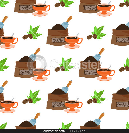 Seamless pattern with illustrations on the theme of coffee. Coffee beans and a bag of coffee beans stock vector clipart, Seamless pattern with illustrations on the theme of coffee. Coffee beans and a bag of coffee beans. by Filipp Efanov