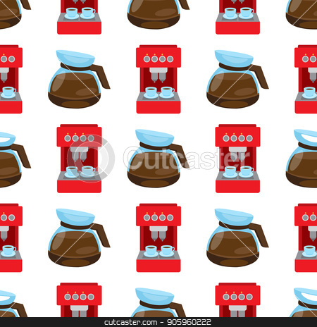 Seamless pattern with illustrations on the theme of coffee. Coffee maker and kettle for brewing coffee stock vector clipart, Seamless pattern with illustrations on the theme of coffee. Coffee maker and kettle for brewing coffee. by Filipp Efanov