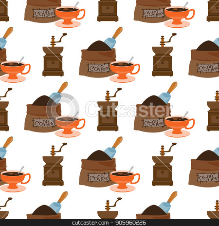 Seamless pattern with illustrations on the theme of coffee. Old coffee grinder and a bag of coffee beans stock vector clipart, Seamless pattern with illustrations on the theme of coffee. Old coffee grinder and a bag of coffee beans. by Filipp Efanov