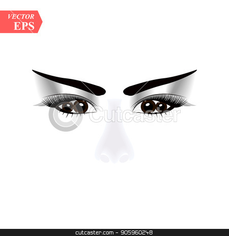 woman face with terribles eyes. Vector illustration of people. Portrait of a girl in a modern style design stock vector clipart, woman face with terribles eyes. Vector illustration of people. Portrait of a girl in a modern style design eps10 by elnurbabayev