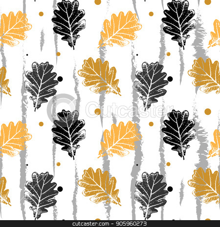 seamless vector pattern with oak leaf, orang and black oak leaf pattern stock vector clipart, seamless vector pattern with oak leaf, orang and black oak leaf pattern eps10 by elnurbabayev