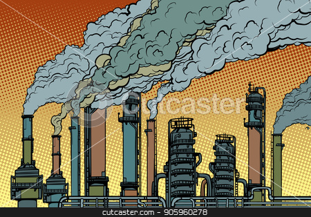chemical pipe factory smoke stock vector clipart, chemical pipe factory smoke. Ecology and industry. Pop art retro vector illustration vintage kitsch drawing by studiostoks