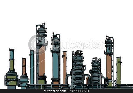 chemical plant, oil refining stock vector clipart, chemical plant, oil refining. Pop art retro vector illustration vintage kitsch drawing by studiostoks