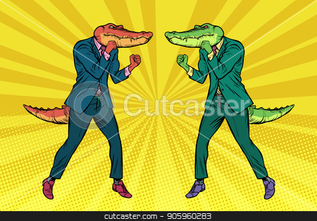 A fight between two businessmen crocodiles. Competition concept stock vector clipart, A fight between two businessmen crocodiles. Competition concept. Pop art retro vector illustration vintage kitsch drawing by studiostoks