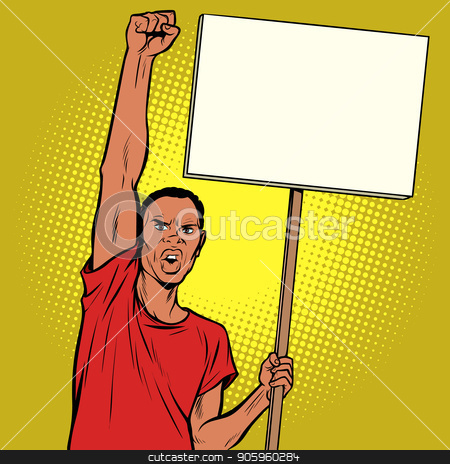 Afrikan man protests with a poster stock vector clipart, Afrikan man protests with a poster. Pop art retro vector illustration vintage kitsch drawing by studiostoks