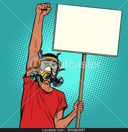 African man protest against polluted air, ecology and environmen stock vector clipart, African man protest against polluted air, ecology and environment. Pop art retro vector illustration vintage kitsch drawing by studiostoks