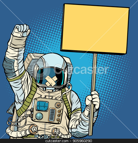 Astronaut with gag protesting for freedom of speech stock vector clipart, Astronaut with gag protesting for freedom of speech. Pop art retro vector illustration vintage kitsch drawing by studiostoks