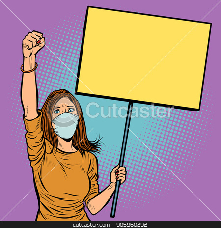 woman in medical mask protests with a poster stock vector clipart, woman in medical mask protests with a poster. Pop art retro vector illustration vintage kitsch drawing by studiostoks