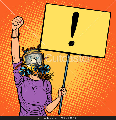 woman in gas mask protesting against polluted air. Environmental stock vector clipart, woman in gas mask protesting against polluted air. Environmental ecology. Pop art retro vector illustration vintage kitsch drawing by studiostoks