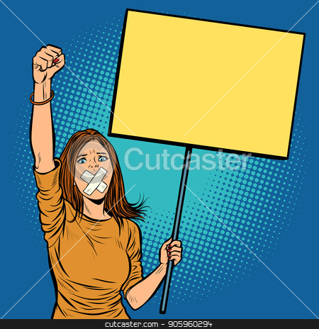 A woman with a gag in her mouth protests for freedom of speech a stock vector clipart, A woman with a gag in her mouth protests for freedom of speech against the censorship. Pop art retro vector illustration vintage kitsch drawing by studiostoks