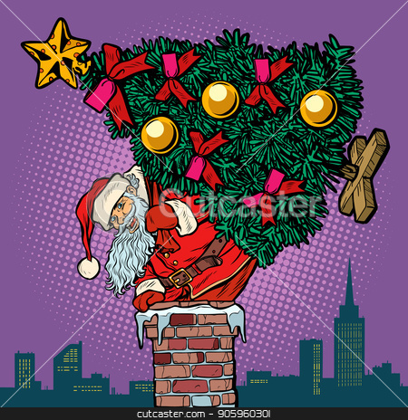 Santa Claus with a Christmas tree climbs the chimney stock vector clipart, Santa Claus with a Christmas tree climbs the chimney. Pop art retro vector illustration vintage kitsch drawing by studiostoks