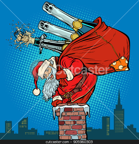 Santa Claus with champagne climbs the chimney stock vector clipart, Santa Claus with champagne climbs the chimney. Pop art retro vector illustration vintage kitsch drawing by studiostoks