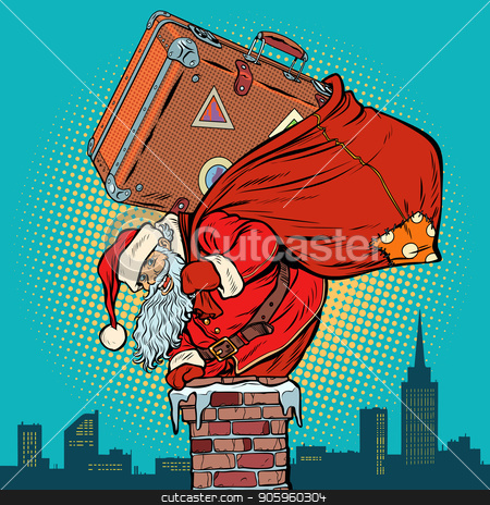 Santa Claus with a suitcase climbs into the chimney stock vector clipart, Santa Claus with a suitcase climbs into the chimney. Pop art retro vector illustration vintage kitsch drawing by studiostoks