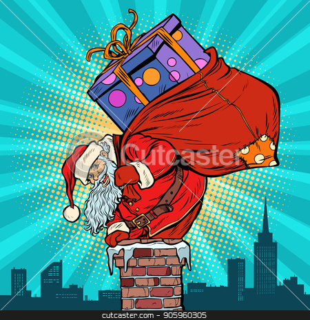 Santa Claus with bag of presents climbing into the chimney stock vector clipart, Santa Claus with bag of presents climbing into the chimney. Pop art retro vector illustration vintage kitsch drawing by studiostoks