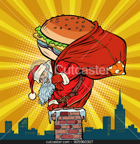 Santa Claus with a Burger climbs into the chimney. Food delivery stock vector clipart, Santa Claus with a Burger climbs into the chimney. Food delivery. Pop art retro vector illustration vintage kitsch drawing by studiostoks