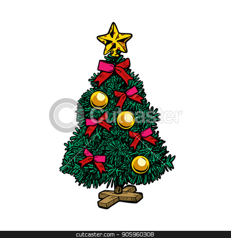 Christmas tree. Isolate on white background stock vector clipart, Christmas tree. New year holidays. Isolate on white background. Pop art retro vector illustration vintage kitsch drawing by studiostoks