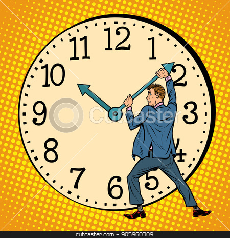 man wants to stop the clock. Time management stock vector clipart, man wants to stop the clock. Time management. Pop art retro vector illustration vintage kitsch drawing by studiostoks