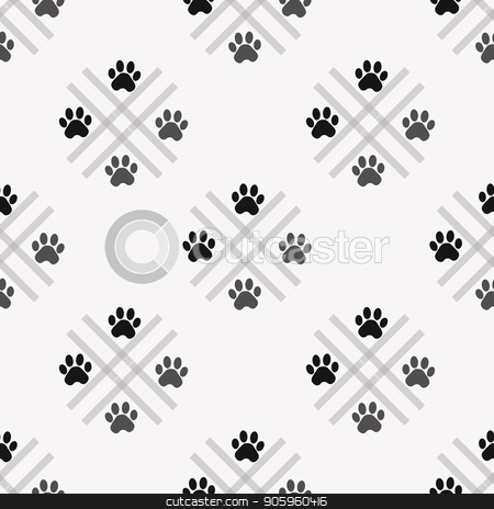 Paw print seamless. Traces of Cat Textile Pattern. Vector seamless stock vector clipart, Paw print seamless. Traces of Cat Textile Pattern. Vector seamless eps 10 by elnurbabayev