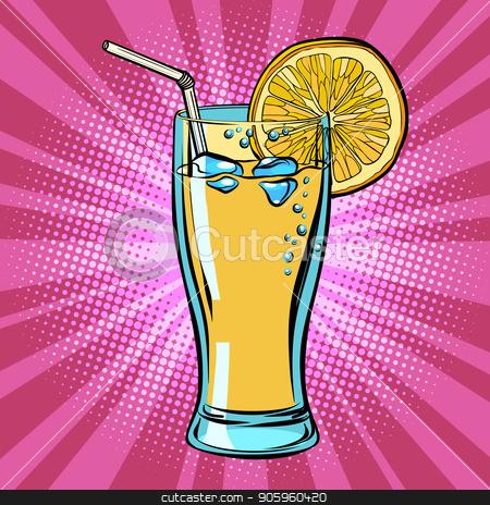 Yellow beverage juice Lemonade with lemon stock vector clipart, Yellow beverage juice Lemonade with lemon. Comic cartoon pop art retro vector illustration drawing by rogistok