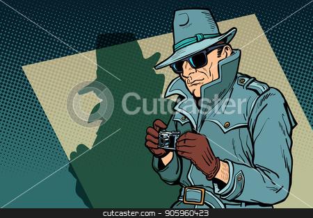 detective spy, shadow stock vector clipart, detective spy, shadow. Comic cartoon pop art retro vector illustration drawing by rogistok
