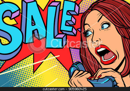 Sale, shopping season. Woman screams in phone stock vector clipart, Sale, shopping season. Woman screams in phone. Comic cartoon pop art retro vector drawing by rogistok