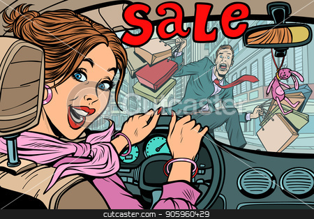 Woman driver goes to the sale, knocks down a man pedestrian. Roa stock vector clipart, Woman driver goes to the sale, knocks down a man pedestrian. Road accident and car. Comic cartoon pop art retro vector illustration drawing by rogistok