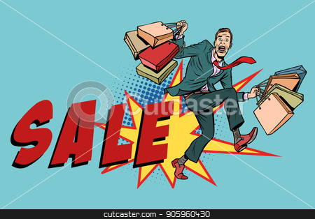 Sale. Man with shopping bags stock vector clipart, Sale. Man with shopping bags. Comic cartoon pop art retro vector illustration drawing by rogistok