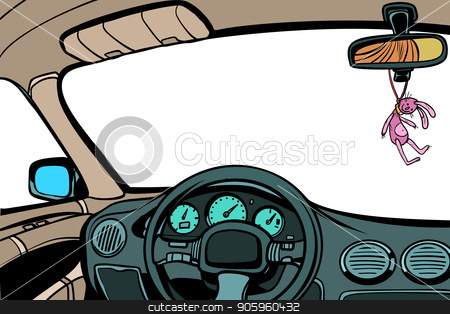 car, view from inside the cabin. Isolate on a white background stock vector clipart, car, view from inside the cabin. Isolate on a white background. Comic cartoon pop art retro vector illustration drawing by rogistok