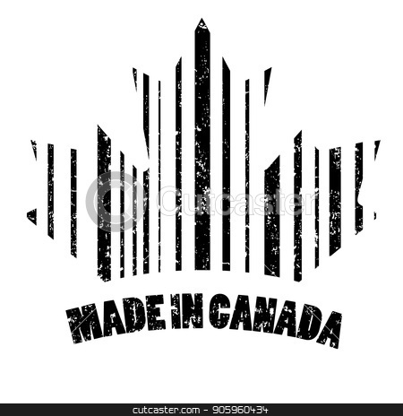 The stamp is made in Canada stock vector clipart, The stamp is made in Canada in the form of a bar code. Original vector illustration. by Evgeniy Dzyuba