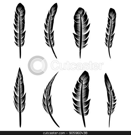 Feather Silhouette Collection stock vector clipart, Feather Silhouette Collection Isolated on White Background by valeo5