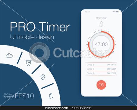 Timer application UI design concept stock vector clipart, Timer clock application UI design concept. Stock vector by Amelisk
