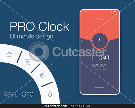 Vector Illustration of screens and web concept stock vector clipart, Vector Illustration of screens and web concept. Interface UX, UI GUI screen template for web site banners. Clock by Amelisk